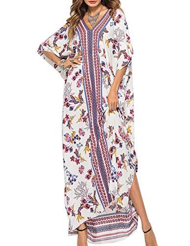 - Buauty Women Bat Sleeve Robes Bathing Suits Cover Up Ethnic Print Kaftan Beach Maxi Dress