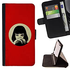 DEVIL CASE - FOR Samsung Galaxy S4 IV I9500 - Anime Red Girl - Style PU Leather Case Wallet Flip Stand Flap Closure Cover