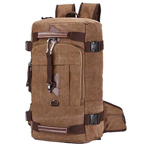 - Duffel Backpack Bag, Yousu Men's Canvas Travel Backpack 45L Large Capacity Outdoor Traveling Duffle Bags Vintage Hiking Daypack Shoulder Bag 3-in-1 Coffee