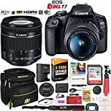 Canon EOS Rebel T7 DSLR Camera with EF-S 18-55mm f/3.5-5.6 is II Lens Essential Accessory Bundle with Deco Gear Photography Gadget Bag + 32GB + Extended Warranty + Editing Software & Maintenance Kit