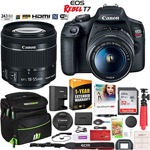 Canon EOS Rebel T7 DSLR Camera with EF-S 18-55mm f/3.5-5.6 is II Lens Essential Accessory Bundle with Deco Gear Photography Gadget Bag + 32GB + Extended Warranty + Editing Software & Maintenance Kit (Best Digital Camera Available)