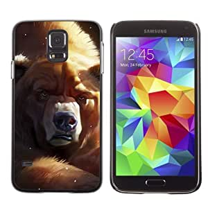 Licase Hard Protective Case Skin Cover for Samsung Galaxy S5 - Funny Grumpy Bear