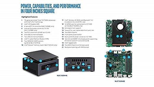Intel NUC NUC7i5DNHE BGA 1356 2,60 GHz i5-7300U UCFF Negro - Barebón (BGA 1356, 7ª generación de procesadores Intel® CoreTM i5, 2,60 GHz, i5-7300U, 14 NM, ...