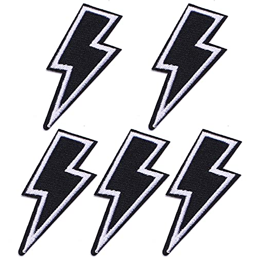 TACVEL Lightning Appliques Embroidered DIY Sew on/Iron on Patches for Jackets, Backpacks, Caps, Jeans to Repair Holes/Logo