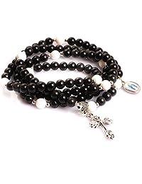 "Gem-inside 6MM Handmade Christian Catholic Cross Prayer Rosary Bracelet Unisex Jewelry 30"""