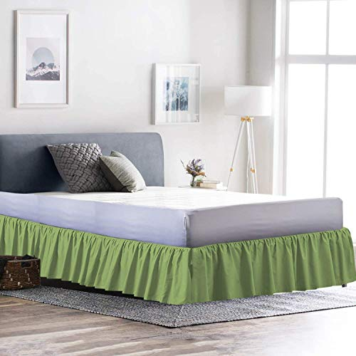 Cottingos Ruffle/Gathering Bedskirt-Sage, Queen Size - Bed Wrap Platform (+15 inch), Three Side Coverage, Gathered Style, Easy fit, Made Brushed Microfiber