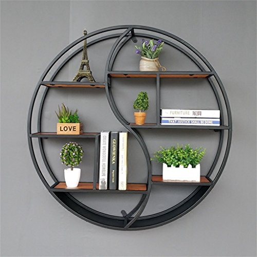 - Lil Round Wall-Mounted Shelves Wall Mount Retro Four-Tier Iron Shelf Floating Unit Frame Wall Decorative Shelves (Color : Black, Size : 686816cm)
