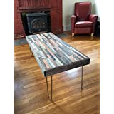 Barn wood Coffee Table - 40x20- Industrial Furniture - Modern Reclaimed Barn Wood/Rustic Wood in a beautiful mosaic pattern with Hairpin Legs