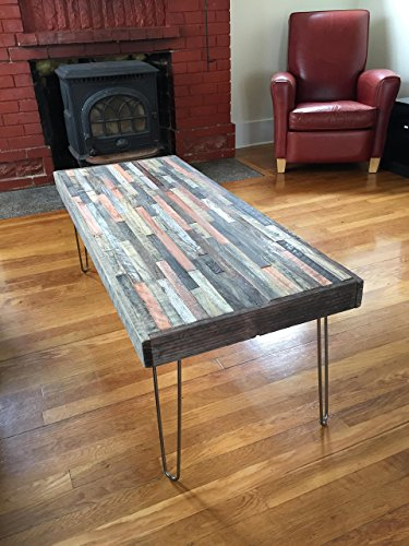 Barn wood Coffee Table - 40''x20''- Industrial Furniture - Modern Reclaimed Barn Wood/Rustic Wood in a beautiful mosaic pattern with Hairpin Legs by PLANK&NAIL