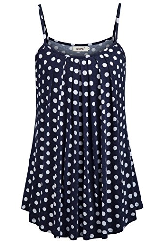 BEPEI Aline Tank Tunic Polka Dot Shirts for Women Loose Casual Summer Pleated Flowy Sleeveless Camisole Tops Blue Size XL ()