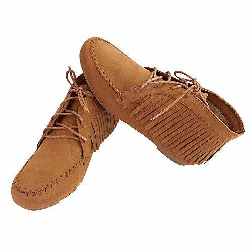 Scarpe Da Donna Con Cinturino Alla Caviglia Con Frange Basse In Bambù, Scarpe Nuove