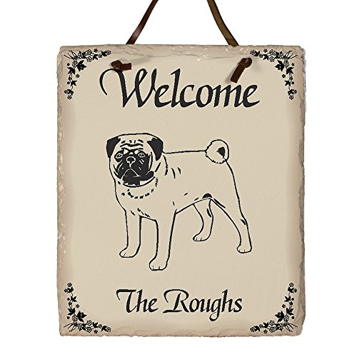 GiftsForYouNow Welcome Dog Breed Personalized Slate Plaque, Pug