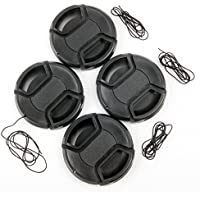 4x 40.5mm Universal Center-Pinch Snap-On Front Lens Cap With Cord Leash Lens Filter Protection for Canon, Nikon, Sony, Pentax, Samsung, Panasonic, Fujifilm, Olympus all DSLR lenses