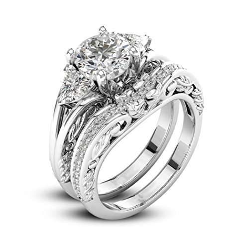 Napoo Clearance Womens Luxury 2-in-1 Vintage White Diamond Silver Engagement Wedding Band Ring (Silver c, 6)