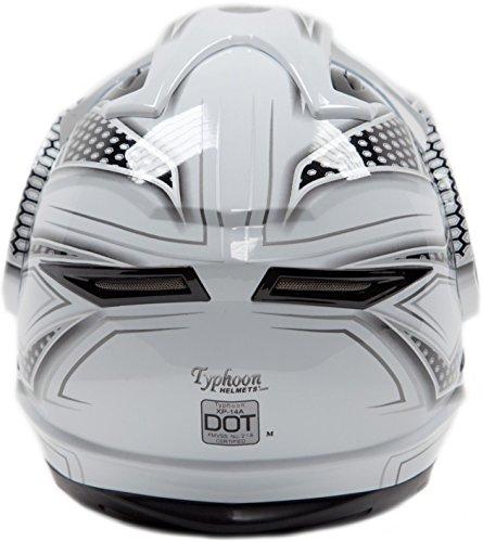 Dual Sport Helmet Combo w/Gloves - Off Road Motocross UTV ATV Motorcycle Enduro - Silver, Black - XXL by Typhoon Helmets (Image #4)
