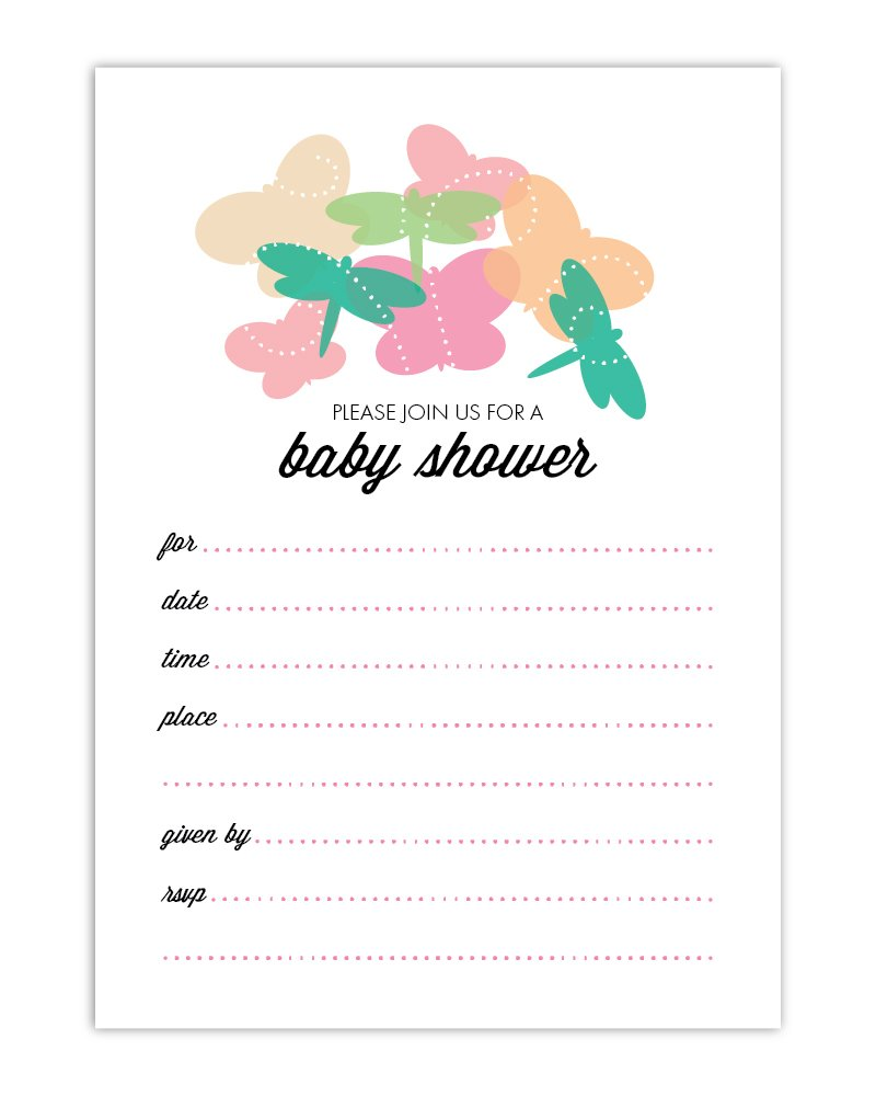 Amazon Butterfly Dragonfly Baby Shower Fill In