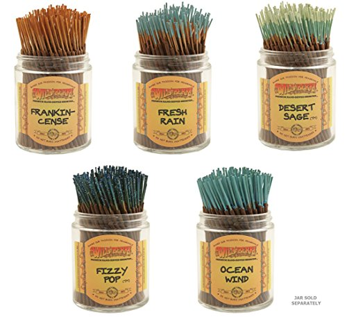 Wild Herb Incense - Wildberry Short Incense Sticks - Set of 5 Best Selling - Desert Sage, Fizzy Pop, Frankincense, Fresh Rain, Ocean Wind (Pack of 100 Each, Total 500 Sticks)