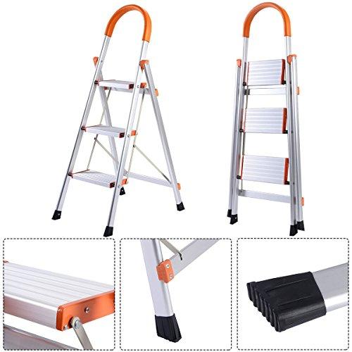 New Non-slip 3 Step Aluminum Ladder Folding Platform Stool 330 lbs Load Capacity