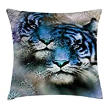 Ambesonne Animal Decor Throw Pillow Cushion Cover, Two Tiger Safari Cat African Wild Furious Life Big Animals Art Print, Decorative Square Accent Pillow Case, 18 X 18 Inches, Blue Black and White