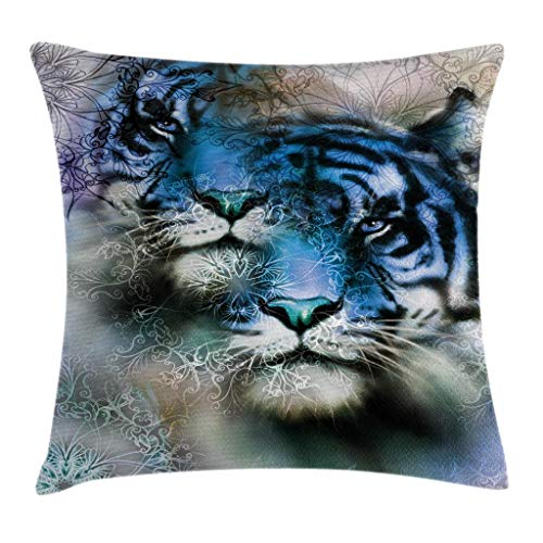Ambesonne Animal Decor Throw Pillow Cushion Cover, Two Tiger Safari Cat African Wild Furious Life Big Animals Art Print, Decorative Square Accent Pillow Case, 18 X 18 Inches, Blue Black and White by Ambesonne