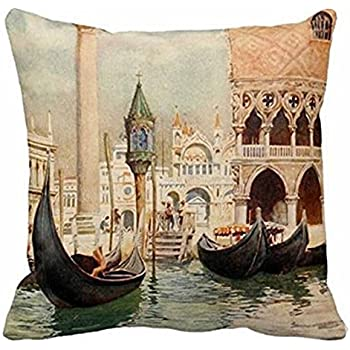Cotton Linen Square Decorative Throw Pillow Case Personalized Cushion Cover Beautiful Water City Vintage Antique Italy Venice 18