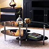 Ryan Rove Orion 38 Inch Modern Oval Two Tier Clear and Black Glass Coffee Table – Clear Top and Black Bottom Glass