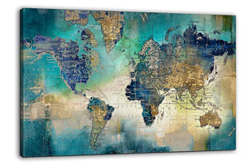 Large World Map Canvas Prints Wall Art for Living Room Office 36x48 Green World Map Picture Artwork Decor for Home Decoration
