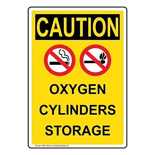 Caution Oxygen Cylinders Storage OSHA Safety Sign, 10x7 in. Plastic for Gases Hazmat by ComplianceSigns (Osha Cylinder Storage)