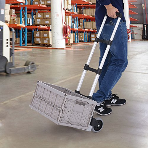 Fashine Aluminum Cart Folding 2-Wheeled Hand Truck Portable Trolley Dolley with Collapsible & Detachable Box(17.7 x 11.8 x 8.7 inches), Up to 130lbs Capacity Lightweight Cart (130 Lb Bin)