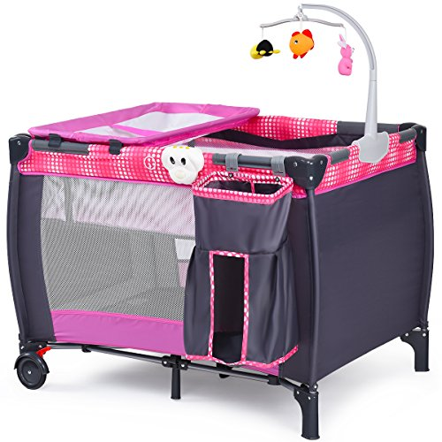 Costzon Baby Playard, Convertible Playpen with Bassinet, Changing Table, Foldable Travel Bassinet Bed with Music Box, Whirling Toys, Wheels & Brake, Travel Ready with Oxford Carry Bag (Pink+Grey)