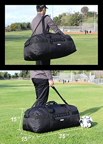 Fitdom Heavy Duty Extra Large Sports Gym Equipment Travel Duffel Bag W Adjustable Shoulder Compression Straps. Perfect for Team Coaches Best for Soccer Baseball Basketball Hockey Football More