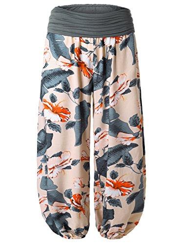 BaiShengGT Women's Floral Print Elastic Waist Harem Pants One Size Apricot-Floral 2