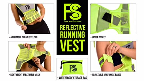 Running Vest for Nighttime and Daytime Visibility – Florescent Safety Jacket for Jogging, Cycling, Motorcycling, and Dog Walking
