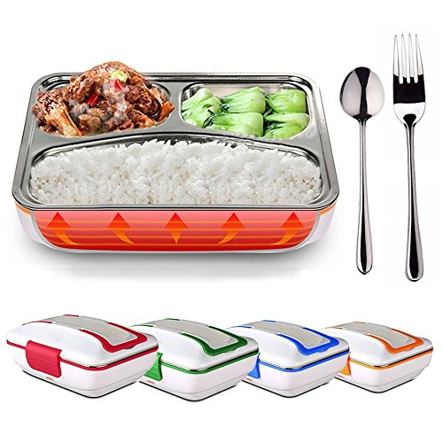 LOHOME Electric Heating Lunch Box - Insulated Lunch Box Bento Meal Heater Food Warmer Stainless Steel Portable Lunch Containers for Home & Office Use 110V with Free Spoon & Fork (Red)