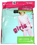 kids thermal wear girls - New Comfort Fit Winter Girl's Warm Thermal 100% Cotton 2 PCS Set Turquoise Blue S