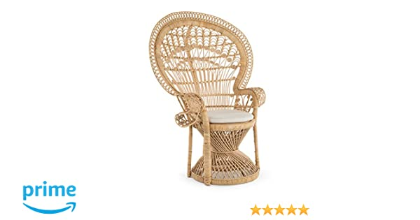 Amazon Com Kouboo Grand Peacock Chair In Rattan With Seat Cushion