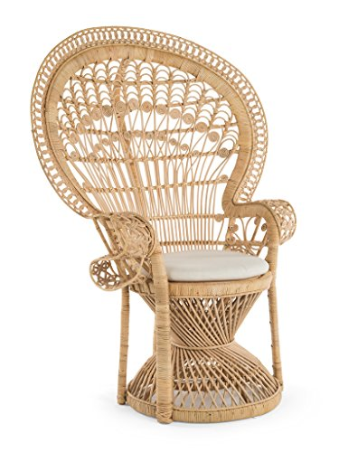Kouboo 1110022 Pecock Grand Peacock Chair in Rattan with Seat Cushion, Natural Color, Large, (Outdoor Contract Furniture Manufacturers)