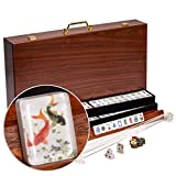Yellow Mountain Imports American Mahjong Set, Koi Fish Motif with Wooden Case - Four Wooden Racks, Four Acrylic Pushers, Wind Indicator, Dice, Wind Indicator & Wright Patterson Counting Coins