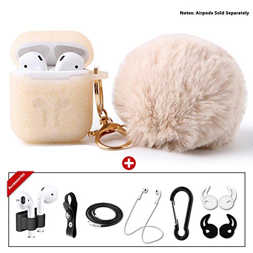 Compatible Airpods Case, Drop-Proof Silicone Glittery Airpods Protective Case Cover with Cute Faux Fur Ball Keychian, 9 In 1 Airpods Accessories Kits by OUYZY