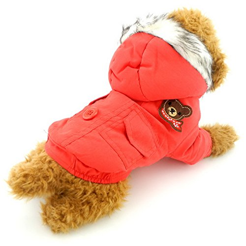 Fashion Pet Bone Patch (SELMAI Thick Cotton-padded Warm Hooded Dog Coat Winter Scarf Bear Patch Red XL,for Small Dog Cat Puppy)