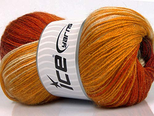 Lot of 4 x 100gr Skeins ICE Mohair Magic Glitz (20% Mohair 20% Wool) Yarn Copper Gold Brown Camel Cream