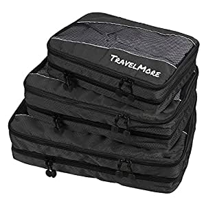 Travel Packing Cubes (Double Sided) - 3 Piece Set With Clean Dirty Compartments - Luggage Organization System for Backpacks, Suitcases, Carry On Bags
