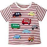 Fiream Little Boys&Girls Summer Cotton Strip T Shirt(White Red,5)