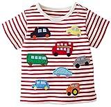 Fiream Little Boys&Girls Summer Cotton Strip T Shirt(White Red,4T)