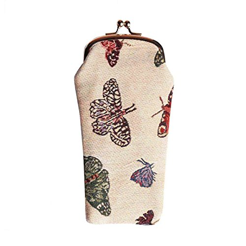 Signare Tapestry Eyeglasses Pouch Sunglasses Bag Spectacle Pouch Butterfly Design - Butt Sunglass