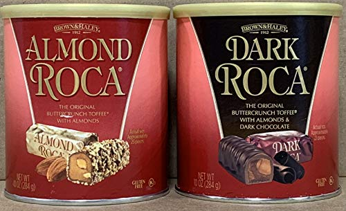 KC Commerce Almond Roca 10oz Canister Variety Pack (Pack of 2) (Original & Dark -