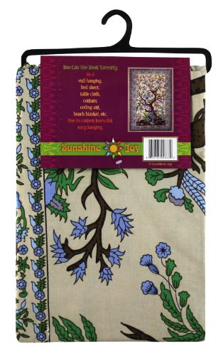 Sunshine Joy Tree Of Life Indian Tapestry - 60x90 Inches - Beach Sheet - Hanging Wall Art (Beige)