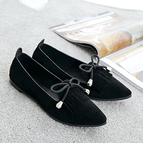 T-july Scarpe Da Donna Scarpe Retrò Nappa Slip On Fashion Bow-knot Scarpe Comode Nere