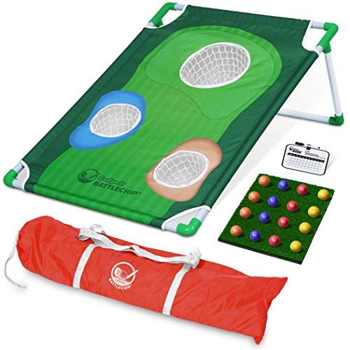 GoSports BattleChip Backyard Golf Cornhole Game | Includes Chipping Target, 16 Foam Balls, Hitting Mat and Carrying Case -