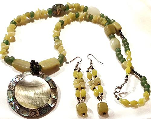 Abalone Shell Pendant Green Sea Beads Yellow Turquoise Gemstone Necklace Earring Set ()